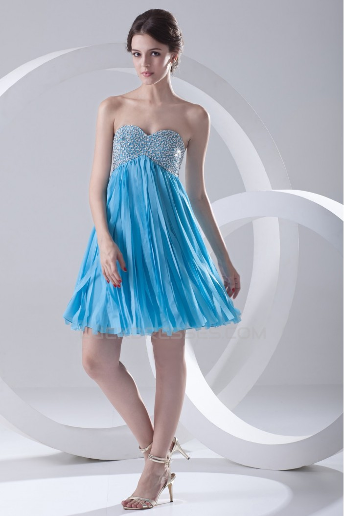 A-Line Sweetheart Beaded Short Blue Chiffon Prom Evening Bridesmaid Dresses ED011384