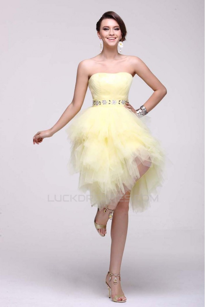 Strapless Short Beaded Yellow Prom Evening Cocktail Dresses ED011385