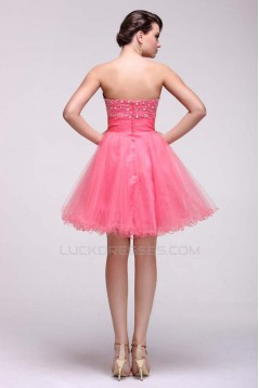 A-Line Strapless Beaded Short Prom Evening Formal Dresses ED011386