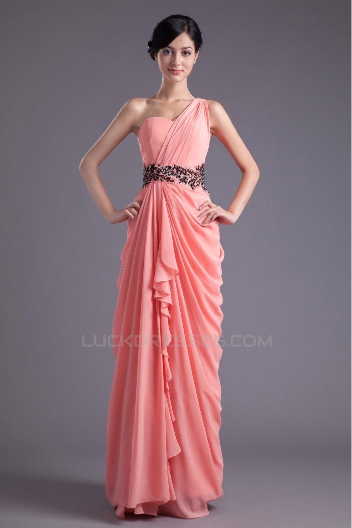 Sheath/Column One-Shoulder Beaded Long Chiffon Prom Evening Formal Dresses ED011390