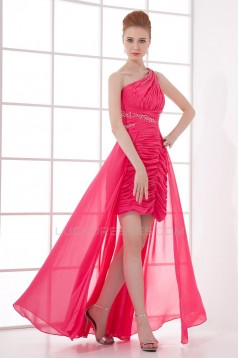 High Low One-Shoulder Beaded Chiffon Prom Evening Formal Dresses ED011391