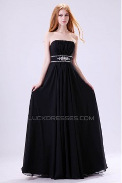 A-Line Strapless Beaded Long Black Chiffon Prom Evening Formal Dresses ED011392