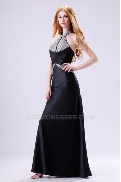 A-Line Halter Beaded Long Black Chiffon Prom Evening Formal Dresses ED011393