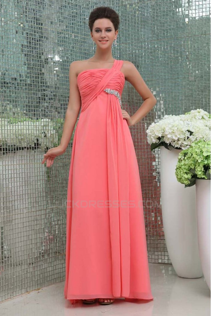 Empire One-Shoulder Beaded Long Chiffon Prom Evening Formal Dresses ED011394