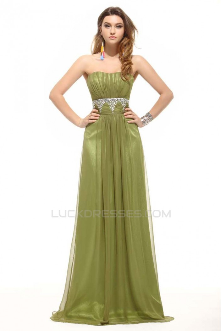 A-Line Strapless Beaded Long Chiffon Prom Evening Formal Dresses ED011398