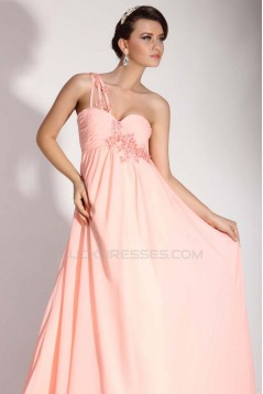 Empire One-Shoulder Long Pink Chiffon Prom Evening Maternity Evening Dresses ED011399