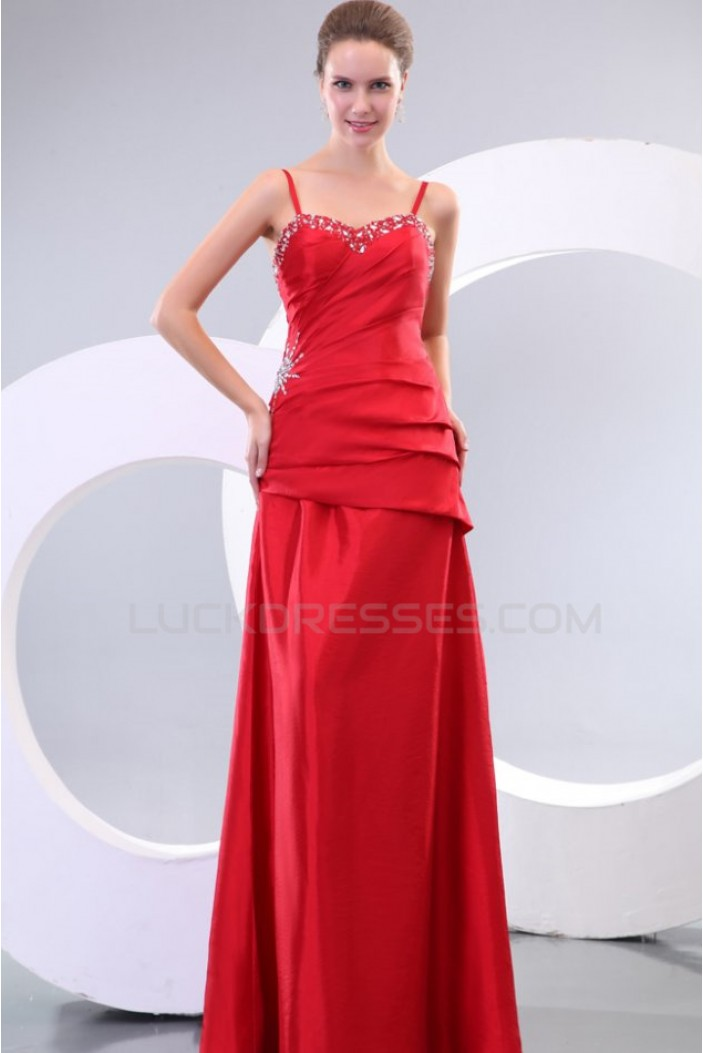 Long Red Spaghetti Strap Prom Evening Formal Party Dresses ED010140