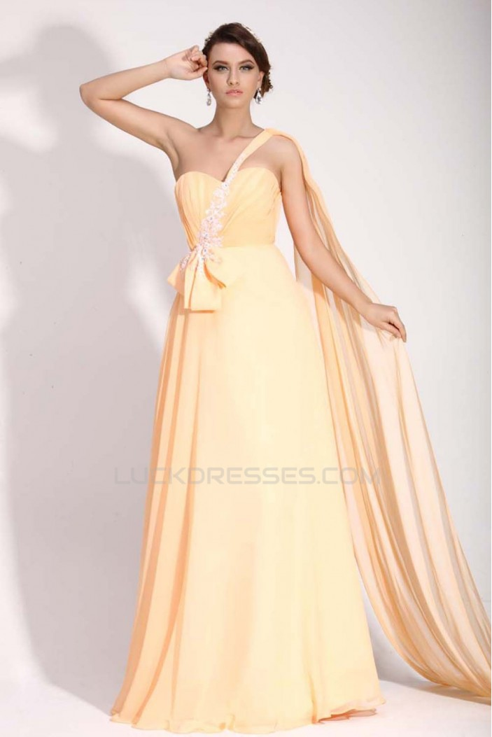 A-Line One-Shoulder Long Yellow Chiffon Prom Evening Formal Dresses ED011400