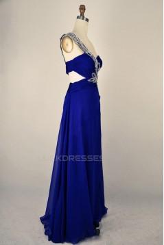 A-Line One-Shoulder Beaded Long Blue Chiffon Prom Evening Formal Dresses ED011402