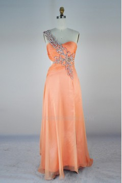 A-Line One-Shoulder Beaded Long Chiffon Prom Evening Formal Dresses ED011405