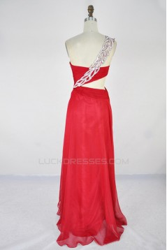 A-Line One-Shoulder Beaded Long Red Chiffon Prom Evening Formal Dresses ED011406