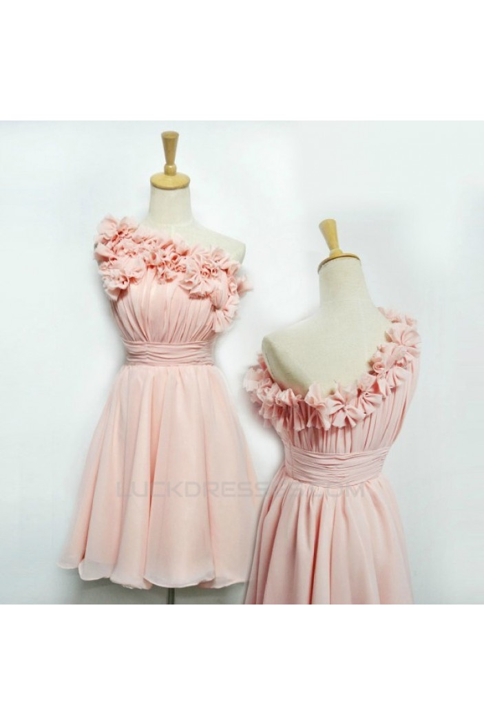 A-Line One-Shoulder Short Pink Chiffon Prom Evening Bridesmaid Dresses ED011407