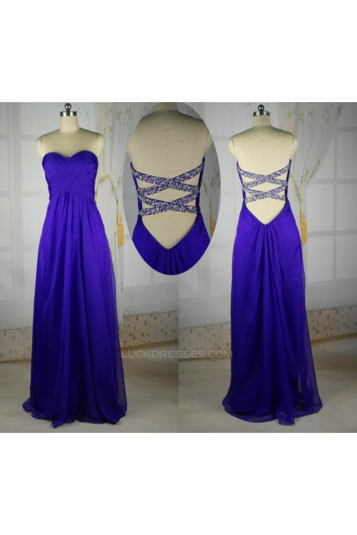 A-Line Sweetheart Beaded Long Blue Chiffon Prom Evening Bridesmaid Dresses ED011409