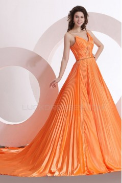 A-Line Pleated Long Prom Evening Formal Party Dresses ED010141