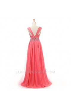 A-Line Beaded Straps Sleeveless Long Chiffon Prom Evening Formal Dresses ED011413