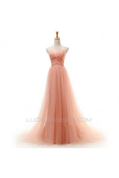 A-Line Sweetheart Long Tulle Prom Evening Formal Dresses ED011414