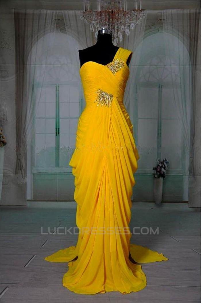 Sheath/Column One-Shoulder Beaded Long Chiffon Prom Evening Formal Dresses ED011416