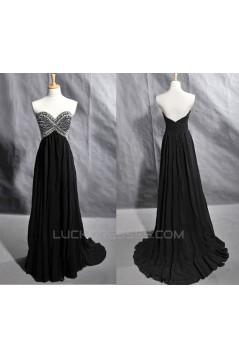 A-Line Sweetheart Beaded Long Black Chiffon Prom Evening Formal Dresses ED011418