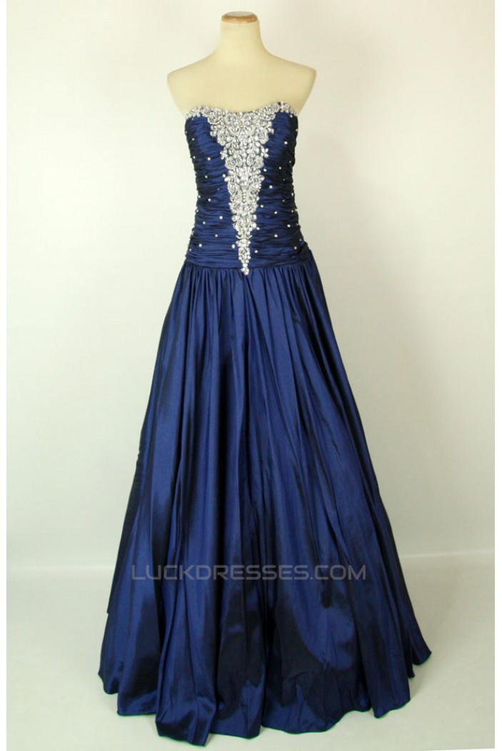 A-Line Strapless Beaded Long Blue Prom Evening Formal Dresses ED011419