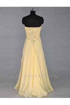 A-Line Sweetheart Beaded Long Yellow Chiffon Prom Evening Formal Dresses ED011421