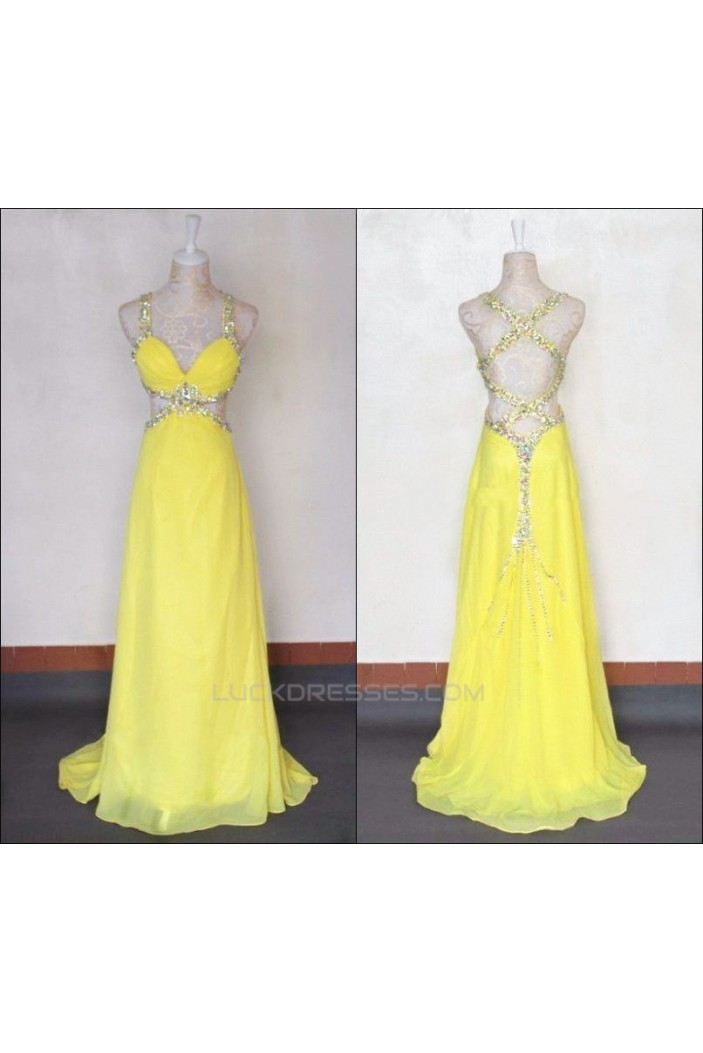 A-Line Sweetheart Long Yellow Chiffon Prom Evening Formal Dresses ED011422