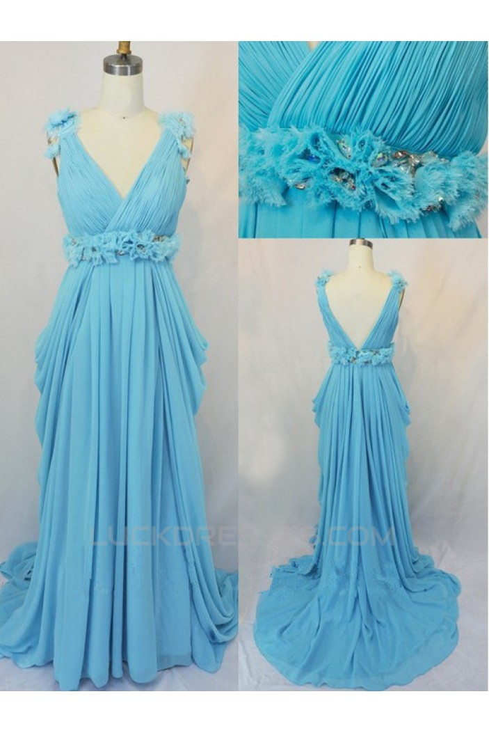 Sheath/Column V-Neck Long Blue Chiffon Prom Evening Formal Dresses ED011423