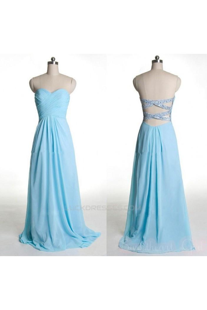 A-Line Sweetheart Beaded Long Blue Chiffon Prom Evening Formal Dresses ED011425