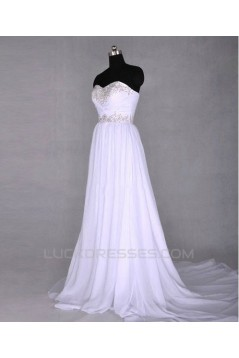 A-Line Sweetheart Beaded Long White Chiffon Prom Evening Formal Dresses ED011426