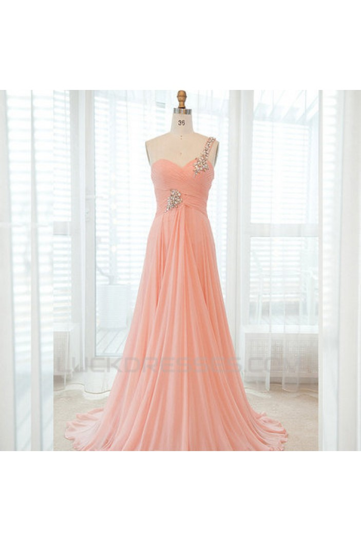 A-Line One-Shoulder Beaded Long Chiffon Prom Evening Formal Dresses ED011427