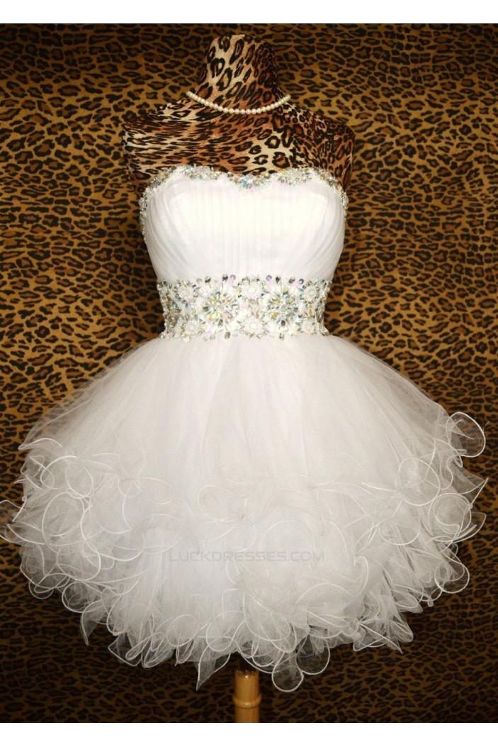 Short/Mini Strapless Beaded Prom Evening Formal Dresses ED011429