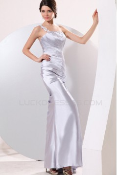 One-Shoulder Long Silver Prom Evening Formal Party Dresses ED010143