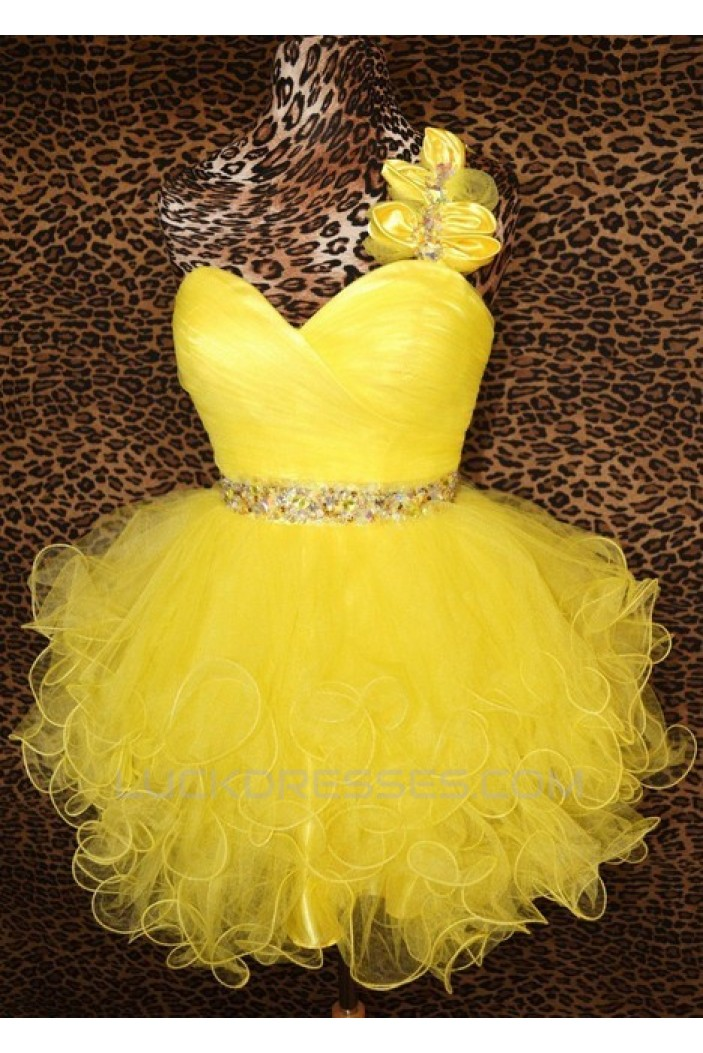 Short/Mini One-Shoulder Beaded Yellow Tulle Prom Evening Cocktail Dresses ED011432