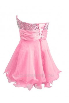 A-Line Sweetheart Beaded Short Pink Prom Evening Cocktail Dresses ED011435