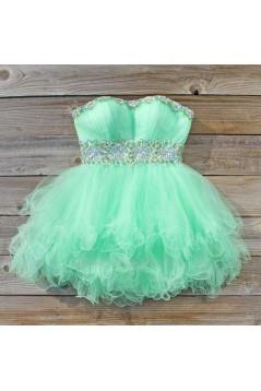 Short/Mini Strapless Beaded Tulle Prom Evening Cocktail Dresses ED011436