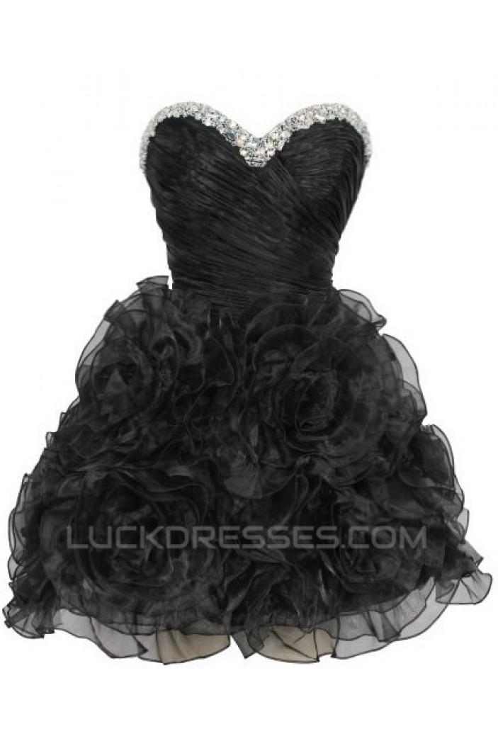 Short/Mini Sweetheart Beaded Black Prom Evening Cocktail Dresses ED011438