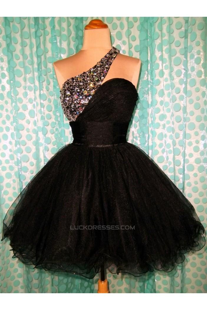 A-Line One-Shoulder Beaded Black Prom Evening Cocktail Dresses ED011439
