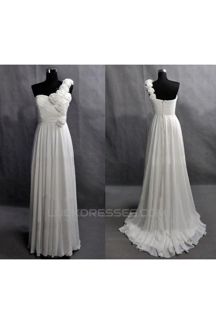 One-Shoulder Long White Chiffon Prom Evening Bridesmaid Dresses ED011444
