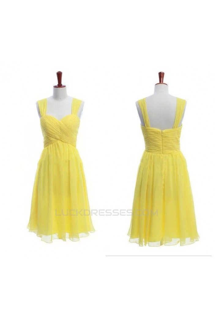 A-Line Straps Sleeveless Short Yellow Chiffon Prom Evening Bridesmaid Dresses ED011446