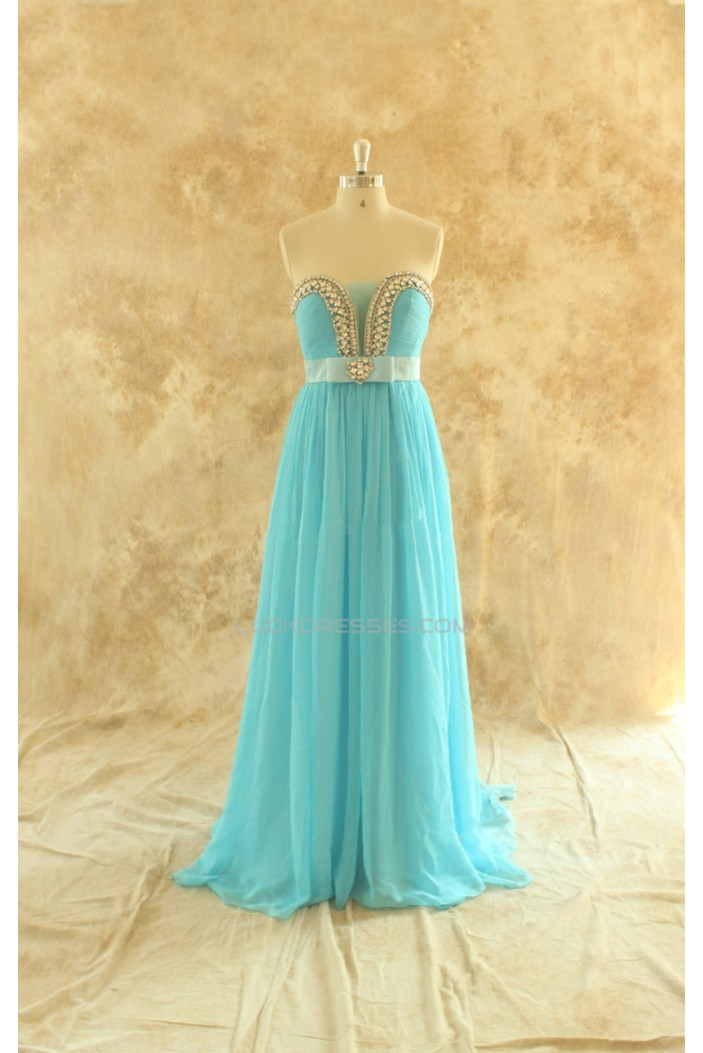 A-Line Beaded Long Blue Chiffon Prom Evening Formal Dresses ED011448