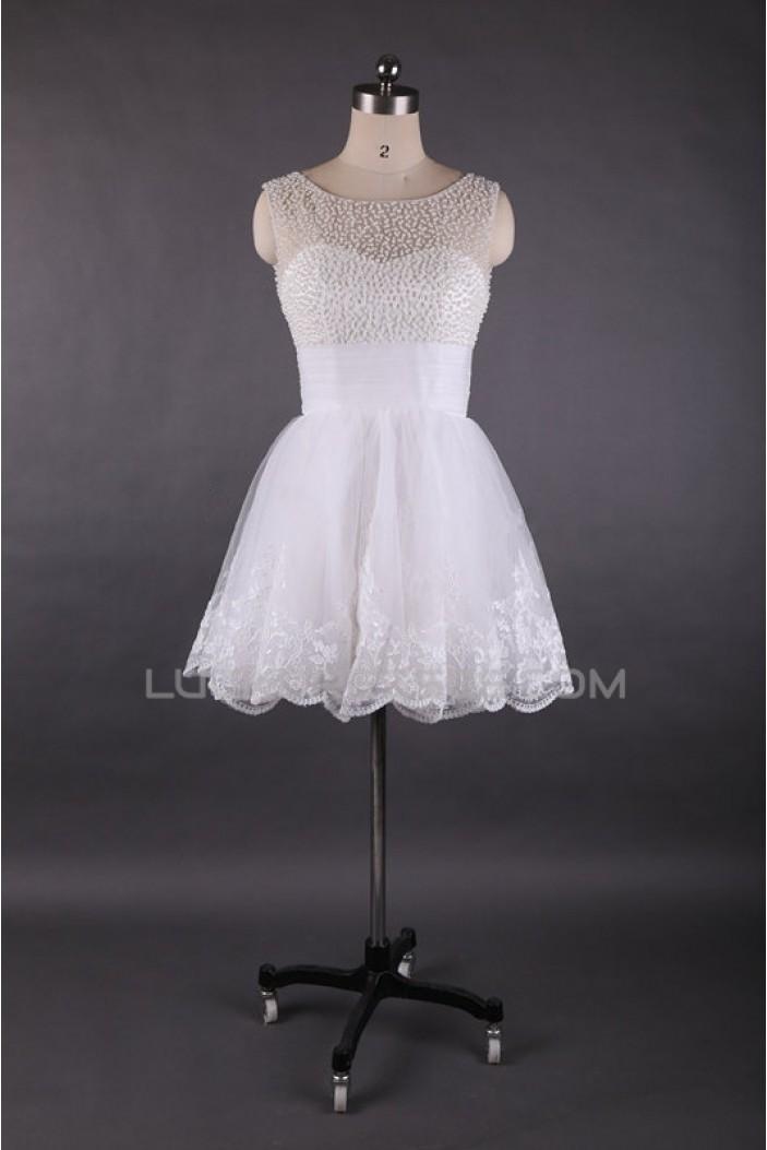 A-Line Short White Beaded Prom Evening Formal Dresses ED011449