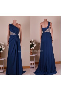 A-Line One-Shoulder Sequins Long Chiffon Prom Evening Formal Dresses ED011450