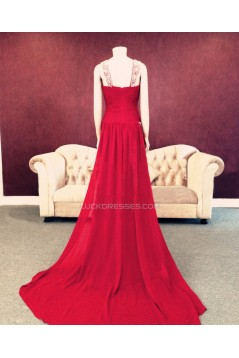 Sheath/Column Beaded Long Red Chiffon Prom Evening Formal Dresses ED011451