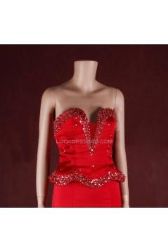 Trumpet/Mermaid Beaded Long Red Prom Evening Formal Dresses ED011452