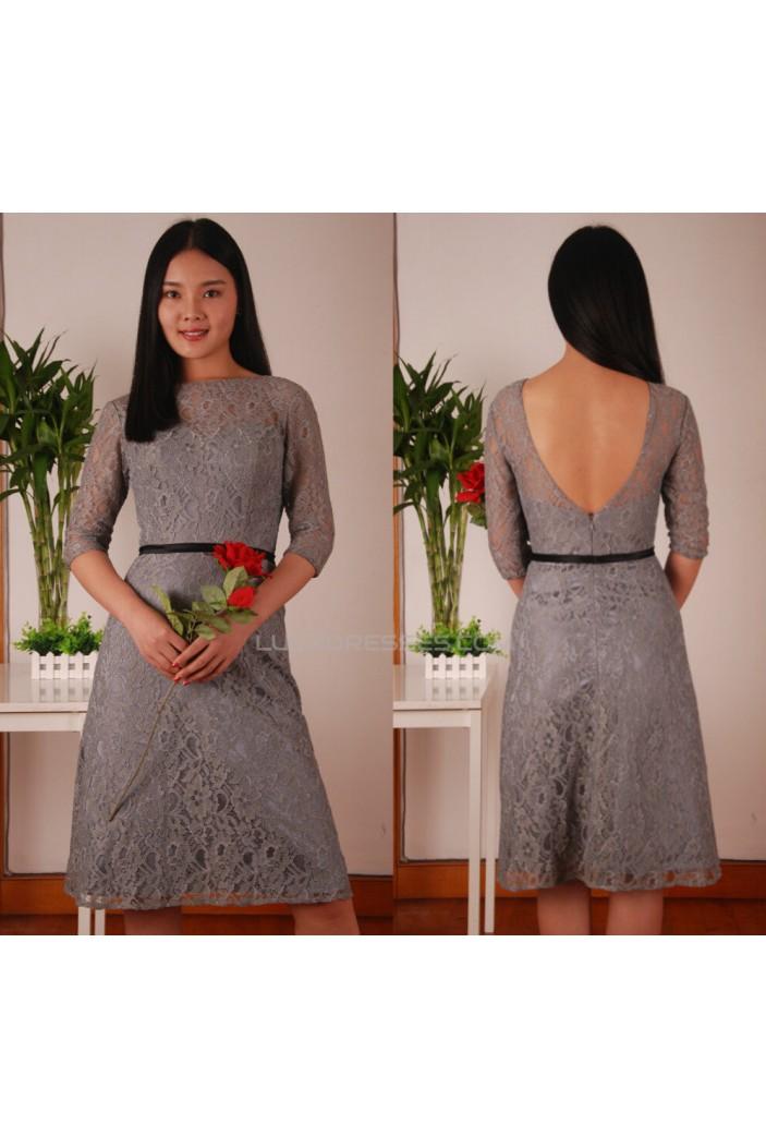 A-Line Bateau Short Grey Lace Prom Evening Formal Dresses ED011453