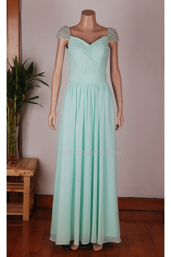 A-Line Beaded Long Blue Chiffon Prom Evening Formal Dresses ED011454