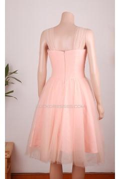 A-Line Straps Short Pink Tulle Prom Evening Formal Dresses ED011456