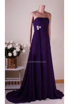A-Line Strapless Long Purple Chiffon Prom Evening Bridesmaid Dresses ED011457