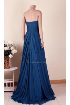 Empire Strapless Long Blue Chiffon Prom Evening Maternity Evening Dresses ED011461