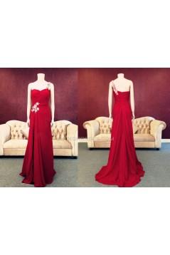 Sheath One-Shoulder Long Red Chiffon Prom Evening Formal Dresses ED011462