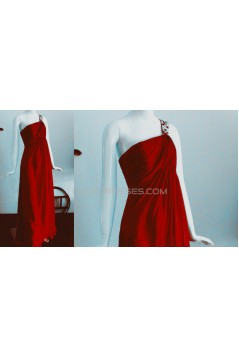 Empire One-Shoulder Long Red Chiffon Prom Evening Bridesmaid Dresses ED011463